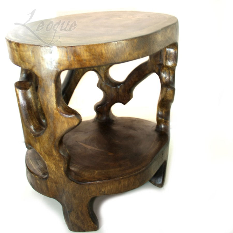 Handcrafted Side Table From Whole Solid Wood Trunk