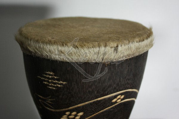 Small Accent Tribal Drums With Animal Skin Leoque