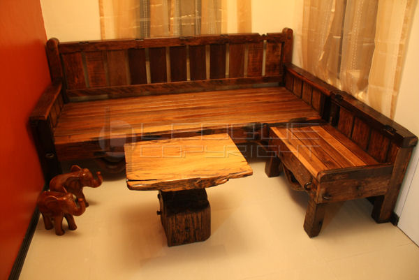 Reproduction antique-look Set: L-shaped daybed + bench set + ...