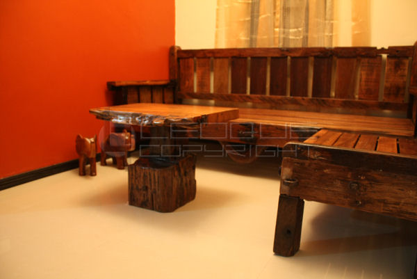 Reproduction antique look set: l shaped daybed   bench set   ...