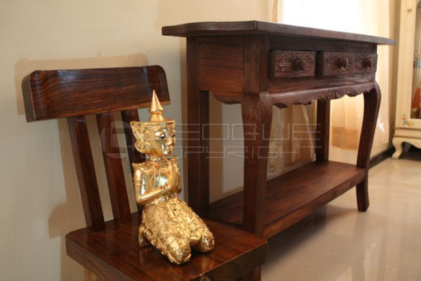Mahogany Console Table With 3 Drawers Amp Detailed Carving