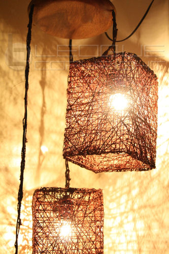 3 Light Abaca Hanging Lamp For Corner Or Dining Set