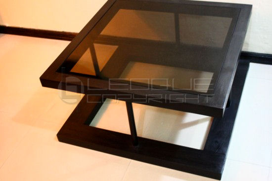 "braic"" unique square coffee table with bronze glass top and"