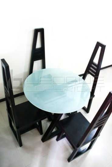 AXATRISM Glass Top Round Dining Table With Tall Back