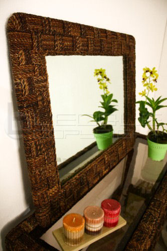 Abaca Framed Mirror Leoque Collection One Look