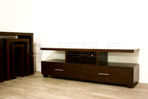 Rattan made flat tv rack with 2 big drawers leoque collection
