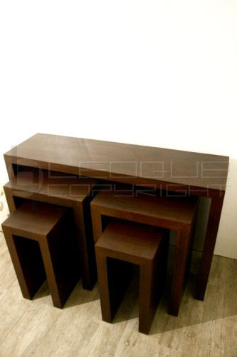 Console Table Rattan Inlay