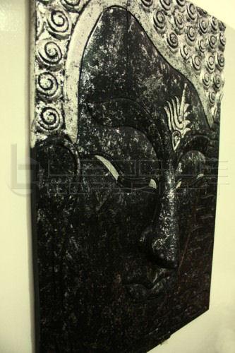 Large Wood 3 Panel Buddha Face Wall Decor Thailand