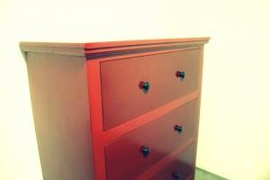 dresser in red