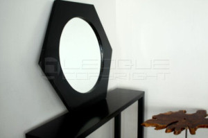 Hexagon Mirror Wood Frame Leoque Collection One Look