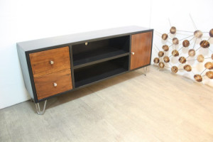 buffet cabinet with steel stand and drawers