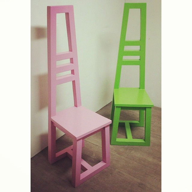 Accent AXATRISM chairs (pink and lime green