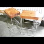 Bar stools, metal stand, wood seats