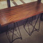 Console table, home desk, trestle metal stand