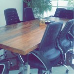 8-seater conference table (hardwood + steel)