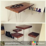 Buyer show: Work table, bar set from recycled hardwood (yakal) and stainless steel