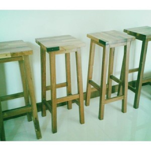 Bar stools, joined wood seat...