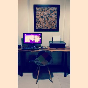 Off shaped wood top, home desk