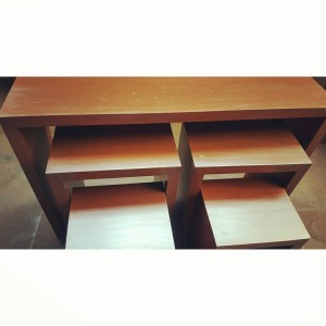 5 piece nesting console table, side tables and stool