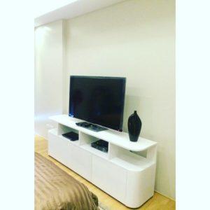 white tv rack