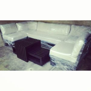 5 Sections, Sectional Wooden Sofa with Center table pair