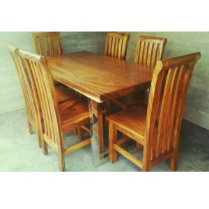 Solid wood acacia table top, stainless legs and solid wood dining chair