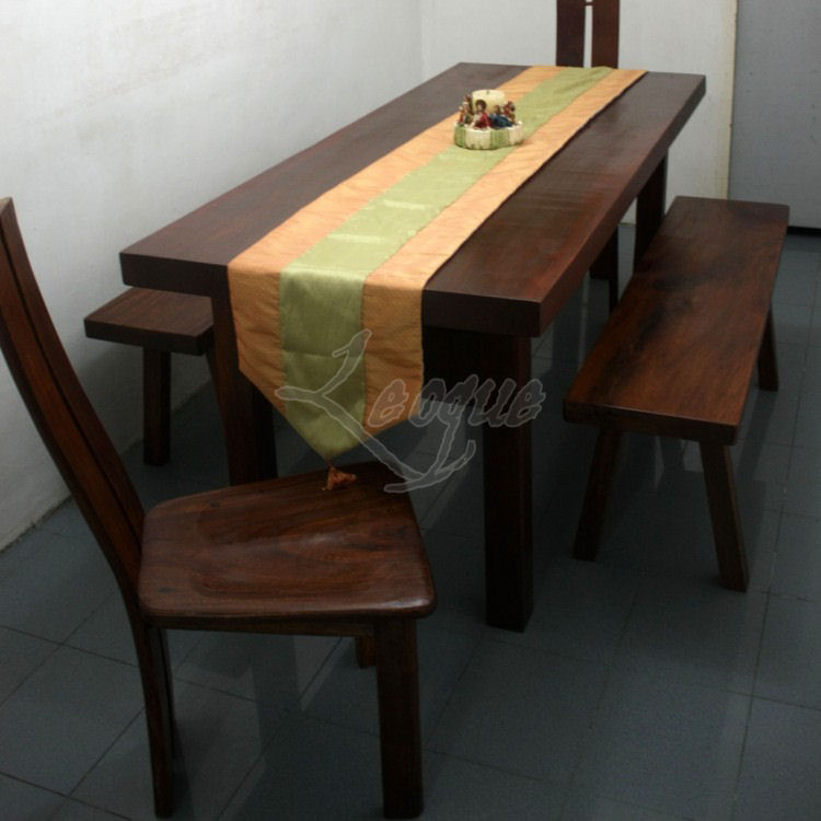6 seater dining table, with 2 dining side benches : leoque 2 Seater Dining Bench