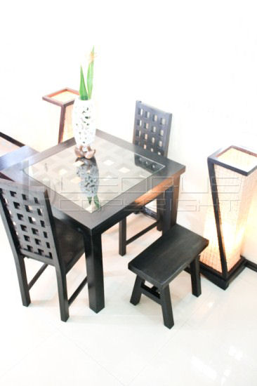 "cc-bat"" stylish set-up dining table, 4-seater with 2 host chairs and 2 Seater Dining Bench"