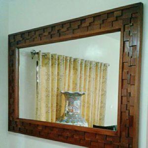 Wall Mosaic Wood Tiled Mirror